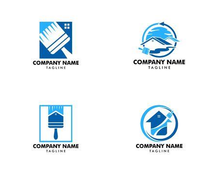Conjunto de vector de diseño de plantilla de logotipo de pintura de casa