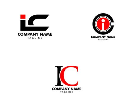 Set of Initial Letter IC Logo Template Design Logo