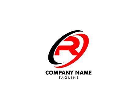 Letter R logo symbol with swoosh designs Ilustrace