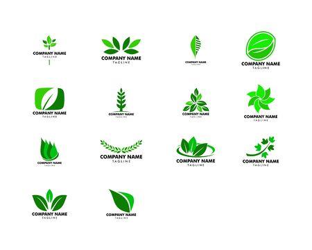 Satz abstraktes grünes Blattlogoikonen-Vektordesign