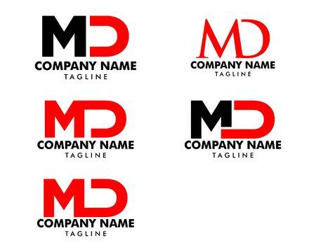 Set of Initial Letter MD Logo Template Design