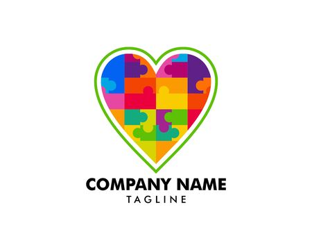 Mosaic heart symbol logo icon design template Illustration