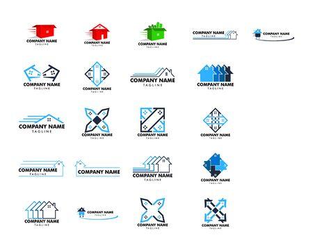Set of House Moving Logo Design Template
