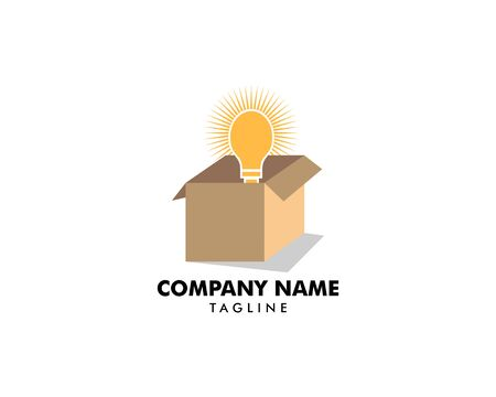 Think outside the box with bulb logo, Light bulb in a box logo