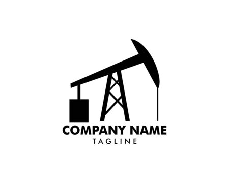 Sucker rod pump icon logo for oil and gas industry Illustration