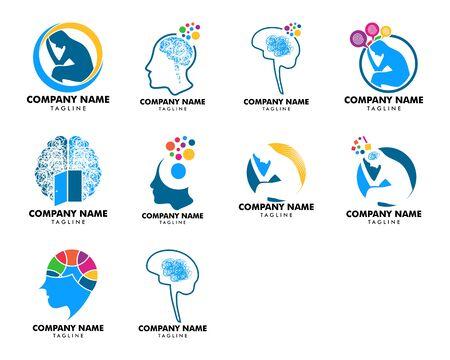 Conjunto de diseño de plantillas de logotipos vectoriales de psicología