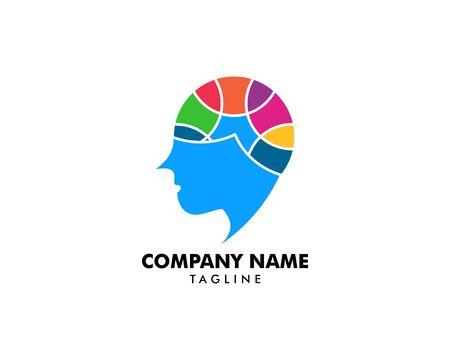 Diseño de plantillas de logotipos vectoriales de psicología