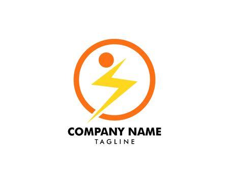 People and Lightning Bolt Logo Template Design Vector Ilustração