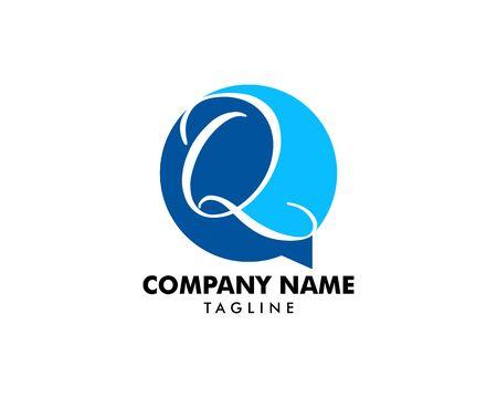 Initial Letter Q Chat Logo Template Design 일러스트