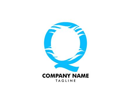 Q letter wave logo template vector illustration