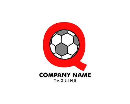Q letter logo, football ball logo design