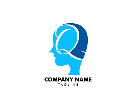 Initial Letter Q and People Head Icon Logo Design Element