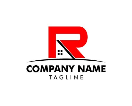 Initial Letter R House Logo Template 일러스트