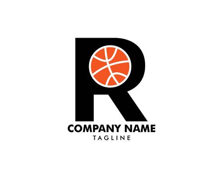 Letter R for Basketball Logo Template  イラスト・ベクター素材