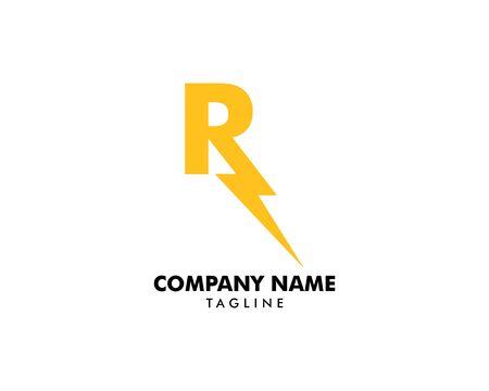 Letter R thunder bolt design logo