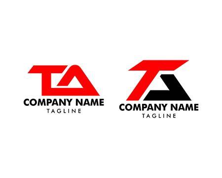 Zestaw początkowych listów TA Logo Icon Design Template Logo