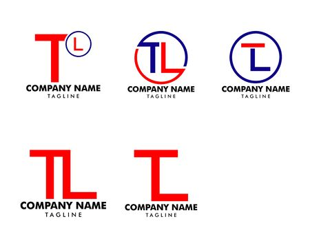 Set of Initial Letter TL Logo Icon Design Template