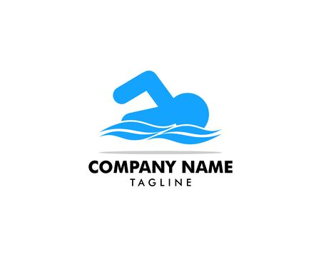 Swimming water sport  logo design Standard-Bild - 129491915