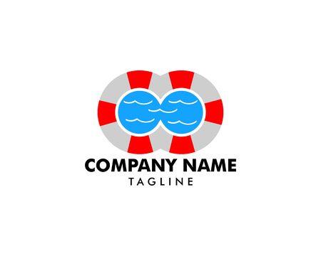 Swimming pool logo template Standard-Bild - 129491917