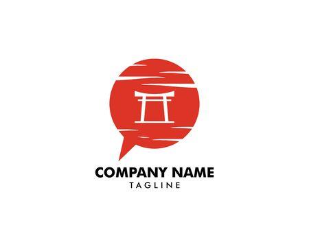 Japanese Talk and Red Torii Gate Logo Template Design