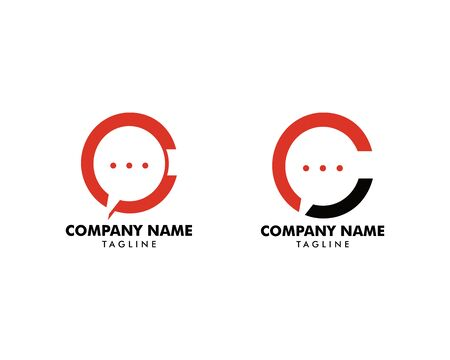 Set of Initial Letter C Chat Logo Template Design