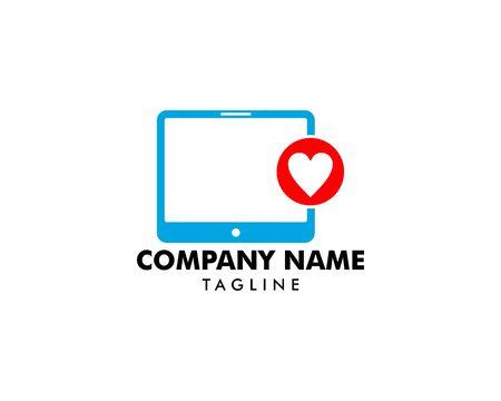 Tablet with Heart Logo Template Design Illustration