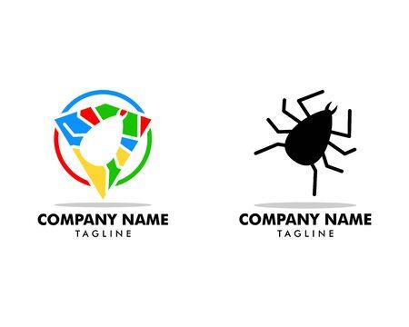 Set of Flea Animal Design Logo Vector Illusztráció