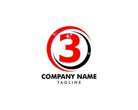 Number three logo, Logo 3 vector template