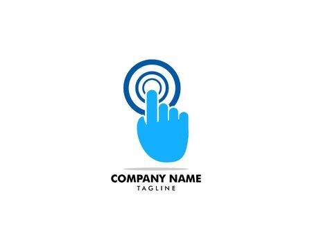 Hand Finger Touch Screen Technology Logo Design Vector Template Illustration