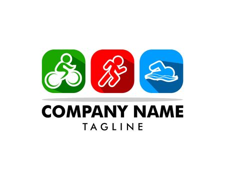 Triathlon event logo, swim, run and bike icons