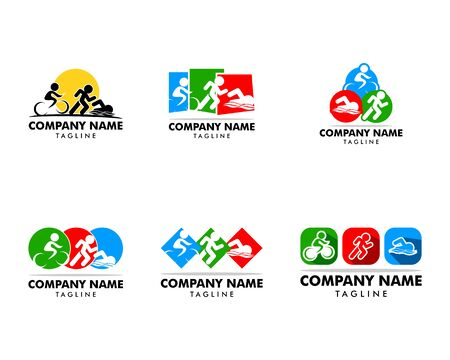 Set of Triathlon event logo, swim, run and bike icons