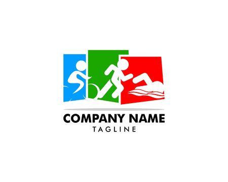 Triathlon event logo, swim, run and bike icons