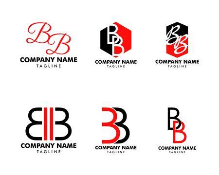 Set of Initial Letter BB Logo Template Design