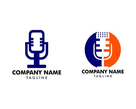 Set of Microphone logo icon, podcast logo icon designs vector  イラスト・ベクター素材