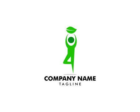 Yoga pose vector logo design template Иллюстрация