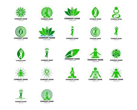 Set of Yoga pose vector logo design template Иллюстрация