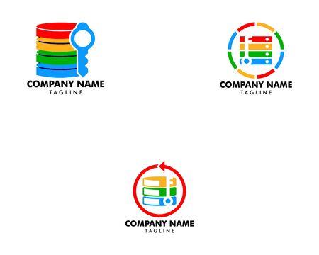 Set of Server Key Icon Logo Design Element Ilustração