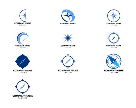 Set of Compass logo template vector icon illustration design