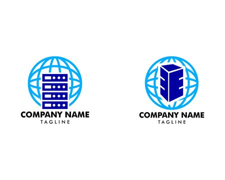 Set of Vector host and planet logo combination, Server and world symbol or icon