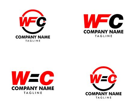 Set of Initial Letter WFC Logo Template Design Illustration