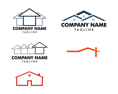 Set of House logo design in creative line style Иллюстрация