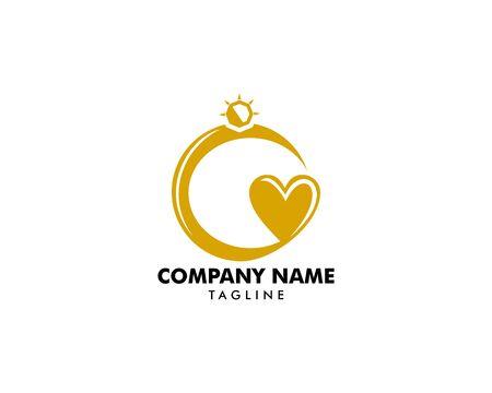 Love and Diamond Ring Logo Template Design Vector