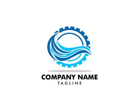 Wave Gear Logo Icon Design