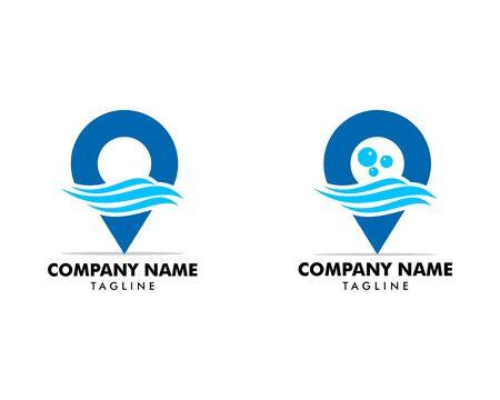 Set of Pin water wave location logo icon vector symbol template Ilustração
