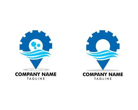 Set of Gear pin water wave location logo icon vector symbol template Ilustração
