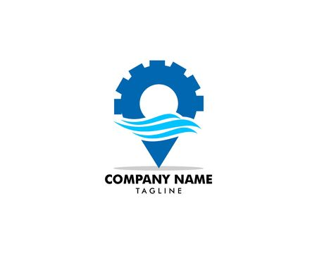 Gear pin water wave location logo icon vector symbol template