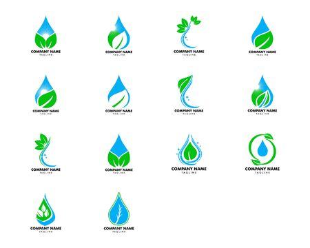 Set of Water drop leaf nature logo design template