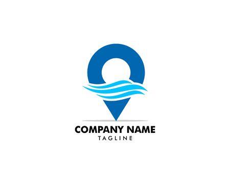 Pin water wave location logo icon vector symbol template