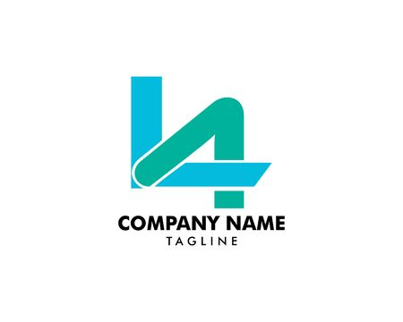 Initial Letter L4 Logo Template Design Ilustracja