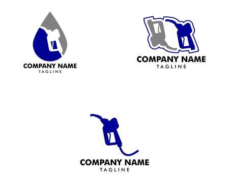 Set of Gasoline Pump Nozzle Logo Template Design Çizim